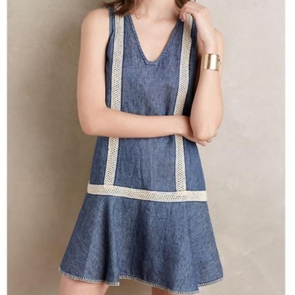 Anthropologie Dresses & Skirts - Anthropologie Holding Horses Denim Crochet Dress